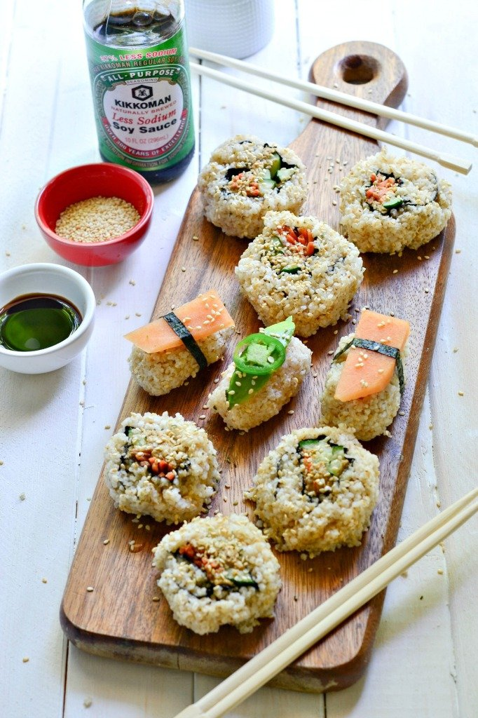 Recipe to make vegan spicy tuna sushi