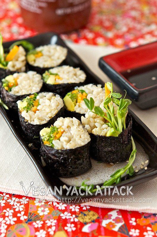 Recipe for vegan brown rice sushi