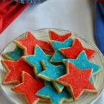 Recipe for vegan shortbread cookies decorated for the 4th of July