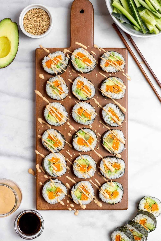 This recipe for sweet potato sushi is one of the vegan sushi recipes in this post.