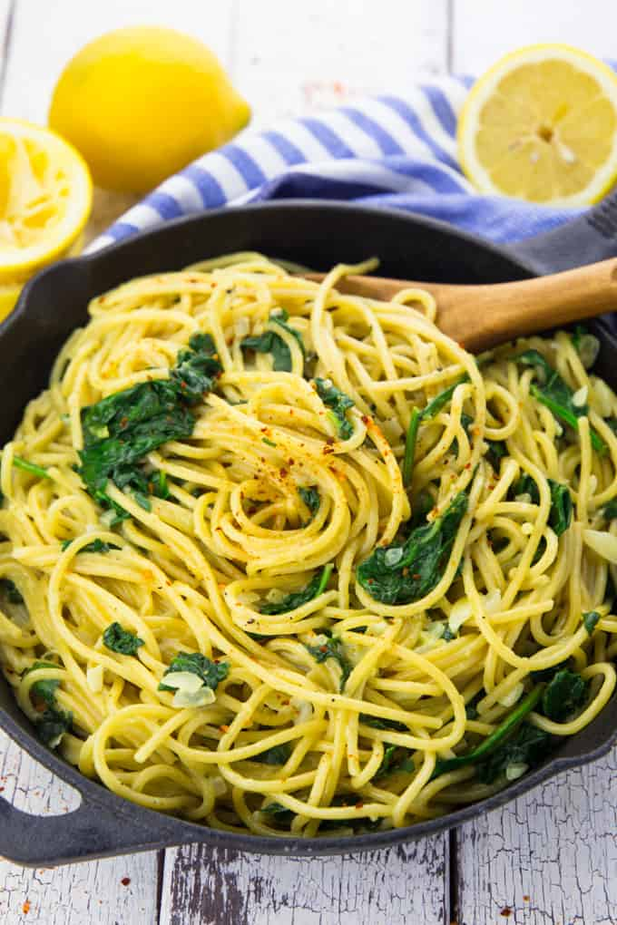 This recipe for lemon spaghetti is one of the vegan pasta recipes in our list.