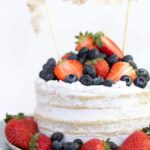 Recipe for vegan vanilla cake decorated for the 4th of July