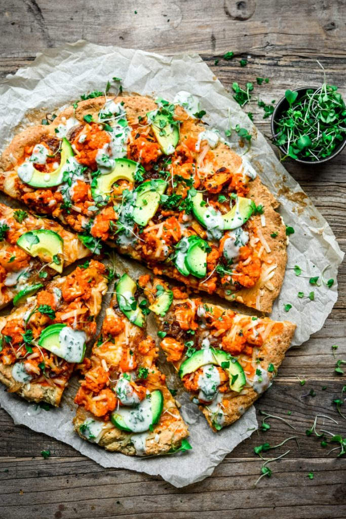 This recipe for buffalo cauliflower pizza is one of the vegan pizza recipes in this post