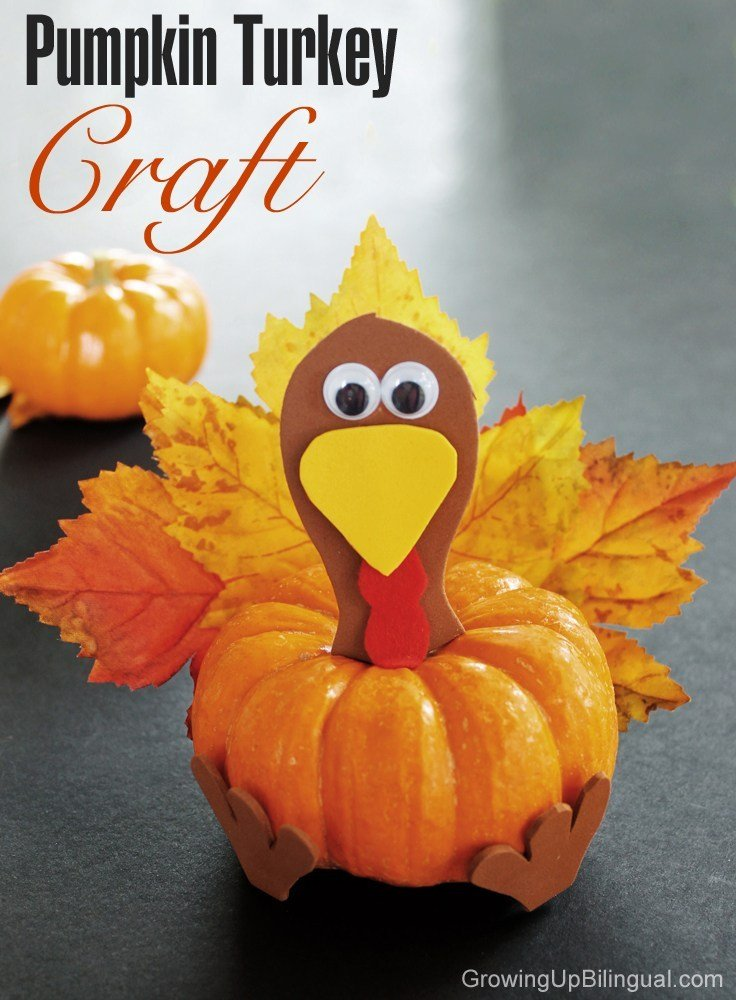 Thanksgiving craft where you make a turkey out of a mini pumpkin.