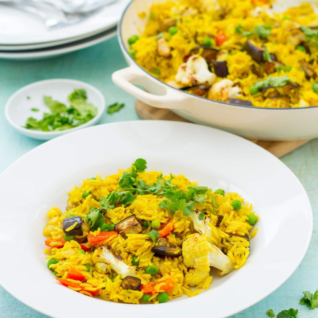 This recipe for vegetable biryani is one of the vegan Indian recipes in this post