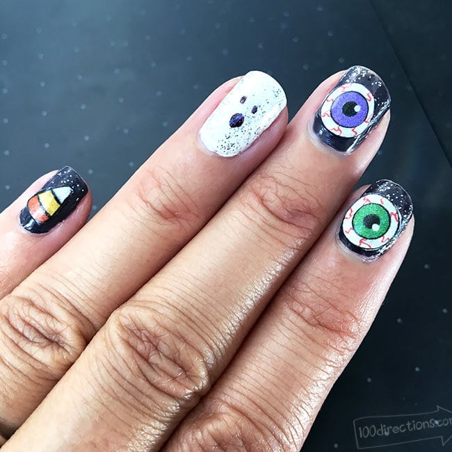 Eyeball, Candy Corn, and Ghost nail art