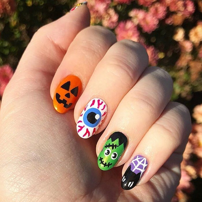 Jack-O-Lantern, Eyeball, Frankenstein, Cat nail designs