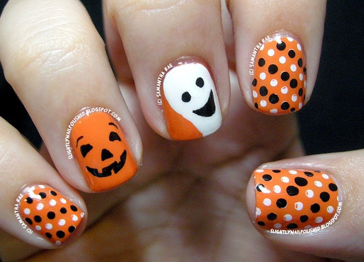 Pumpkin, Ghost, and Polka Dot nail designs