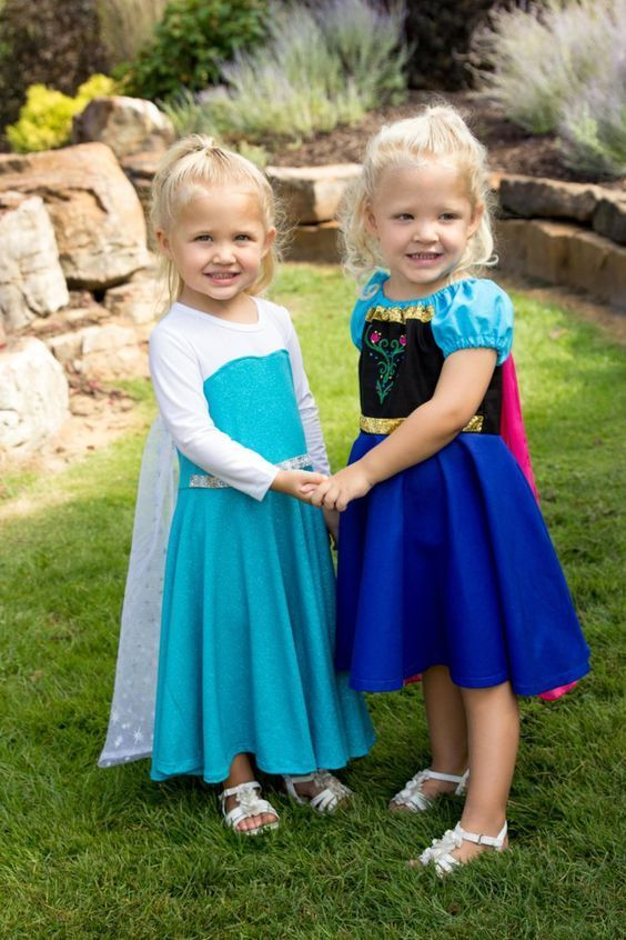 Anna and Elsa twin costume from Disney's Frozen movie.