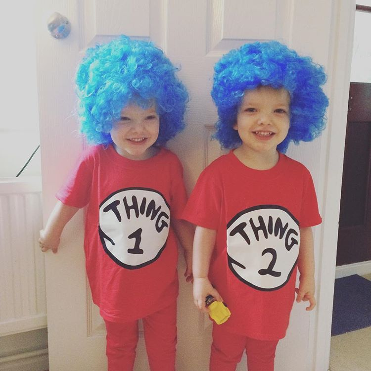 Thing 1 and Thing 2 twin costumes from Dr Seuss The Cat In The Hat.