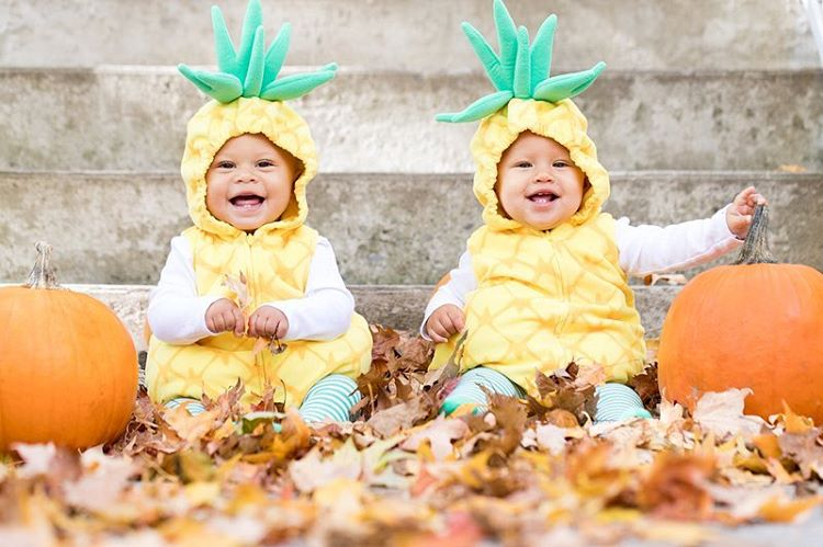 Twins dressed up as pineapples for Halloween