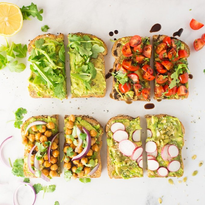Recipe for making vegan avocado toast four ways