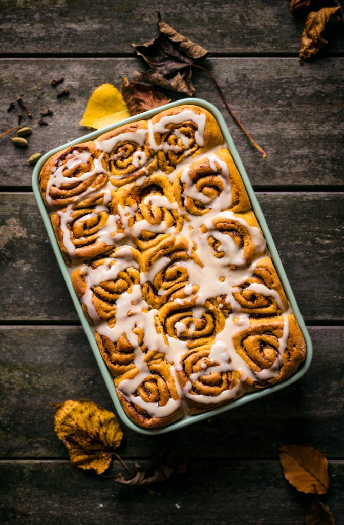 This recipe for Pumpkin Spice Cinnamon Rolls is one of the vegan pumpkin recipes in this post.
