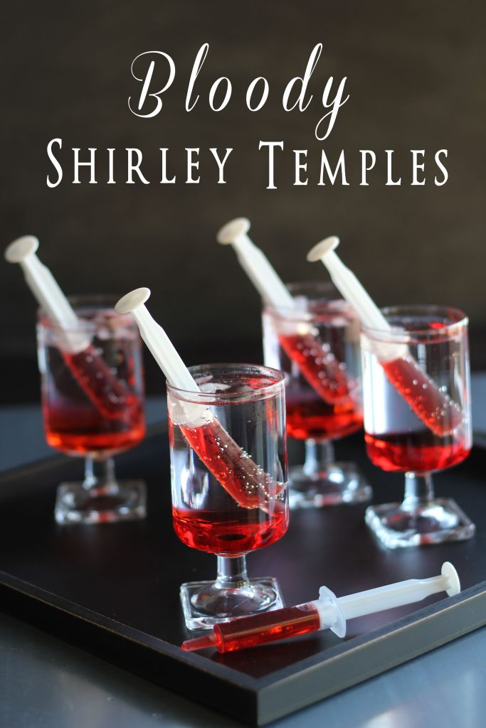 This recipe for bloody shirley temples is one of the Halloween drinks for kids in this post.