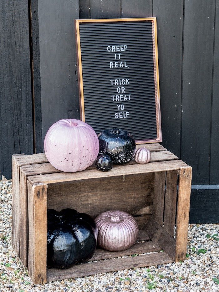 "Letter board that says ""creep it real trick or treat yo self"""