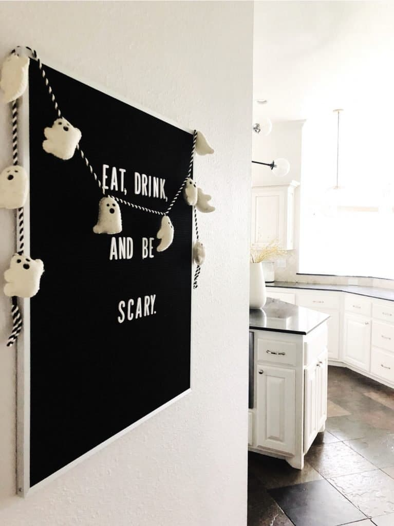"Letter board that says ""eat, drink, and be scary"""