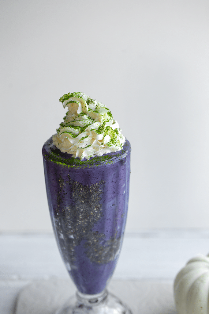This recipe for a Witch's Brew Frappuccino is a non alcoholic Halloween drink.