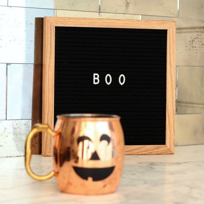 Letter board that says Boo