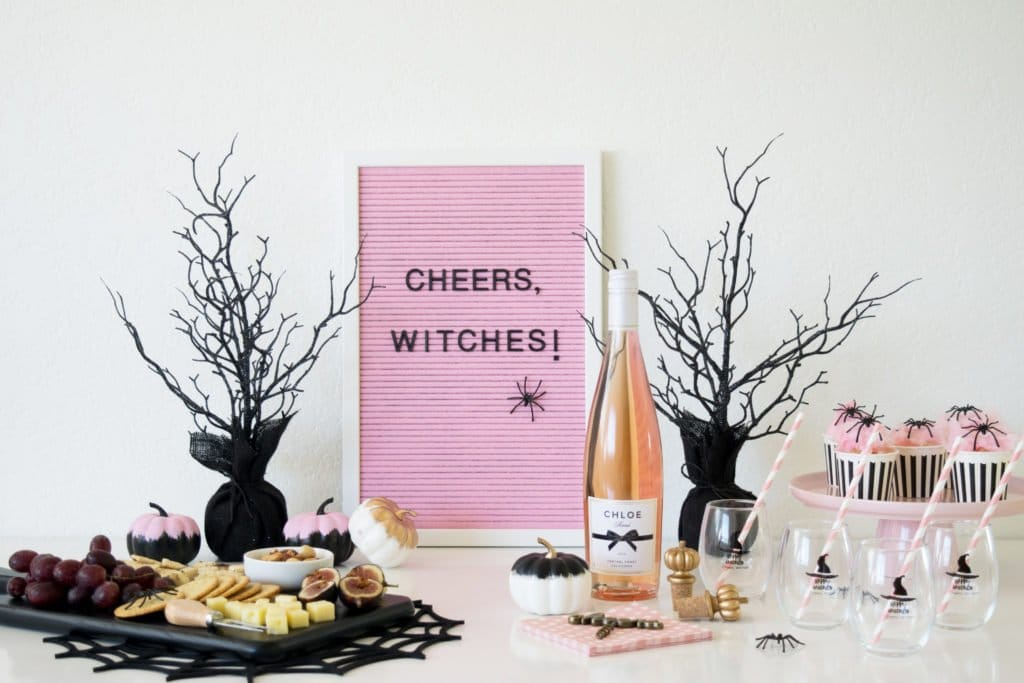 "Letter board that says ""cheers, witches!"""