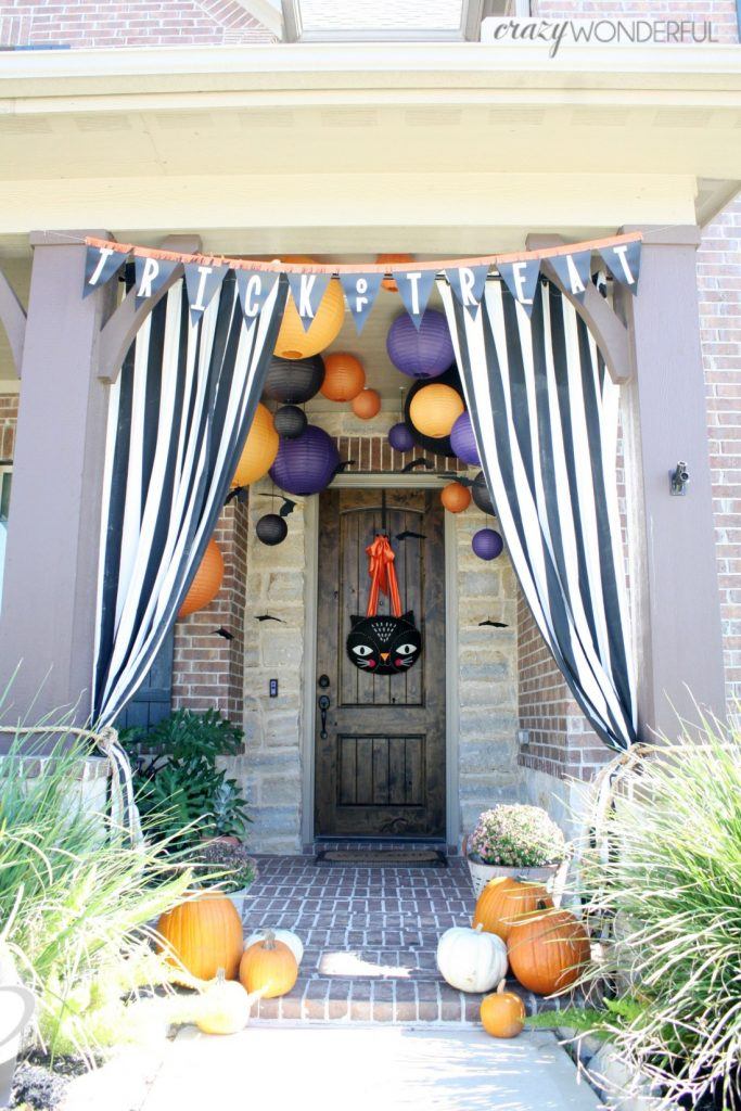 Halloween porch with lanterns and banners