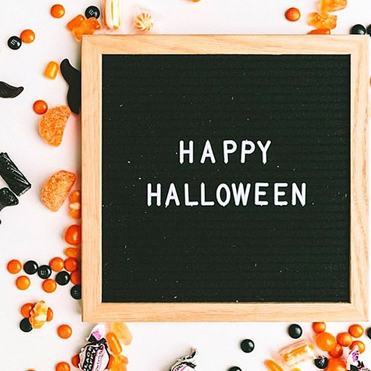 happy halloween letter board