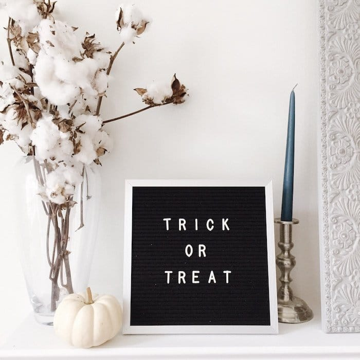 "Letter board that says ""trick or treat"""
