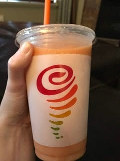 The Mega Mango smoothie is one of the Jamba Juice vegan options mentioned in this post.