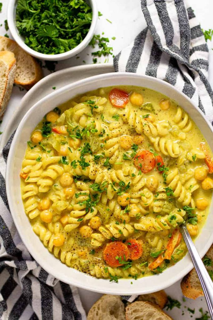 This recipe for Chickpea Noodle Soup is one of the vegan soup recipes in this post.