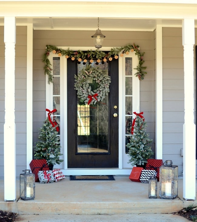 Christmas Porch with Light Up Trees