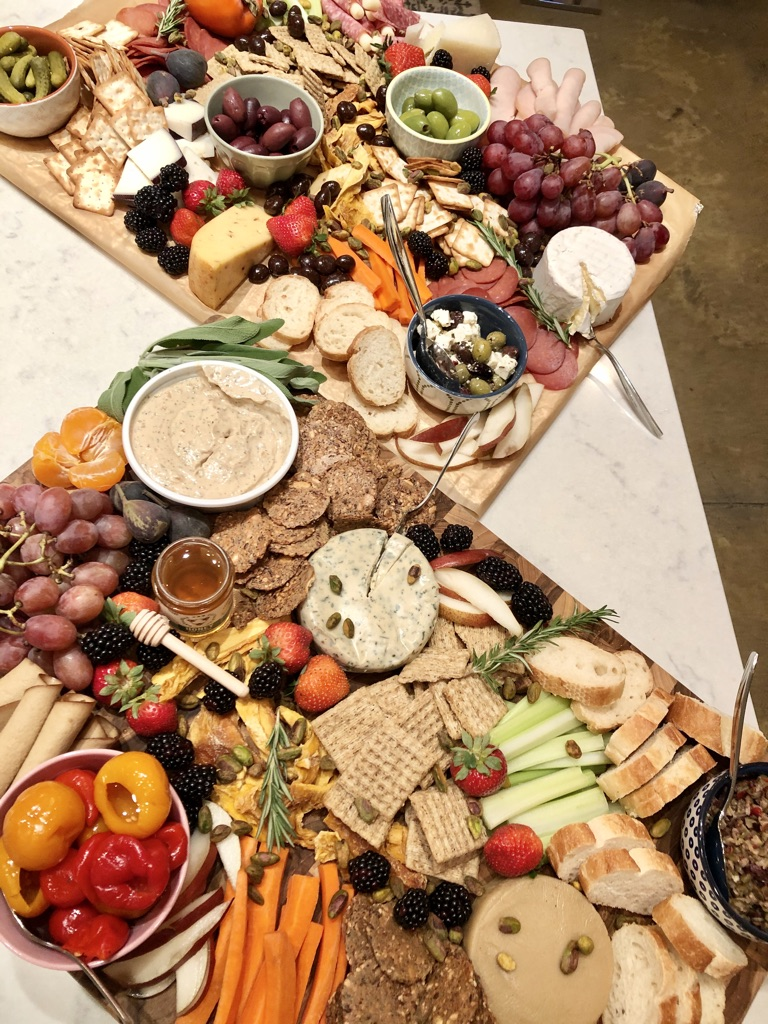 Crackers Bread and Produce Charcuterie Board