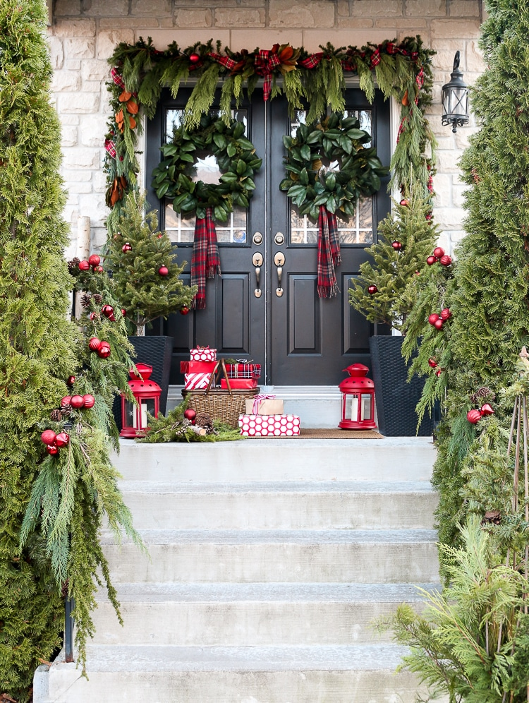 Porch with Greenery and Presents