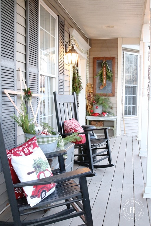 Porch with Rocking Chairs and Decorative Pillows