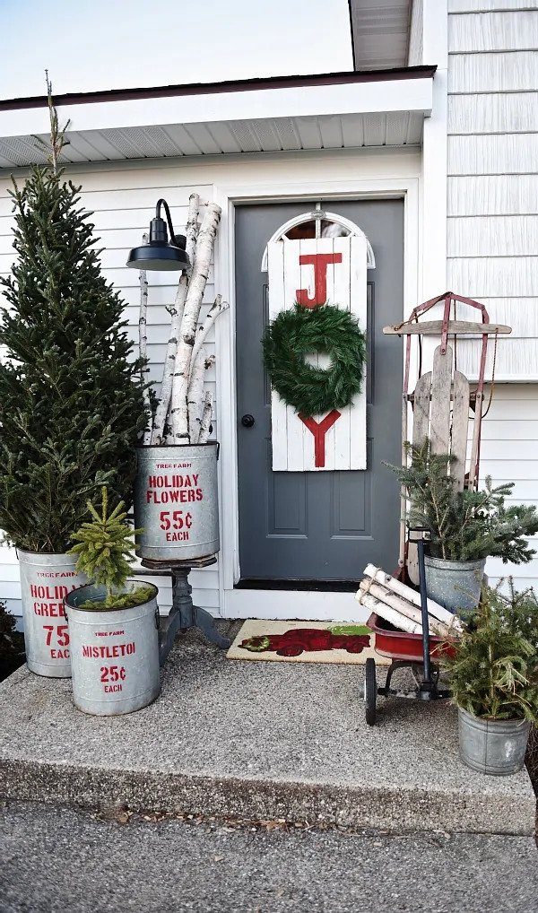Rustic Christmas Porch
