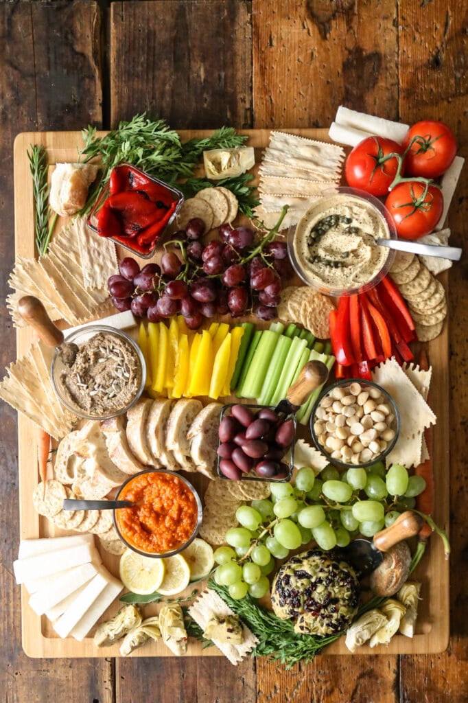 Vegan Cheese Ball and Produce Charcuterie Board