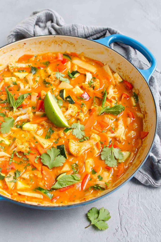 This recipe for Thai Red Curry is one of the vegan curry recipes in this post.