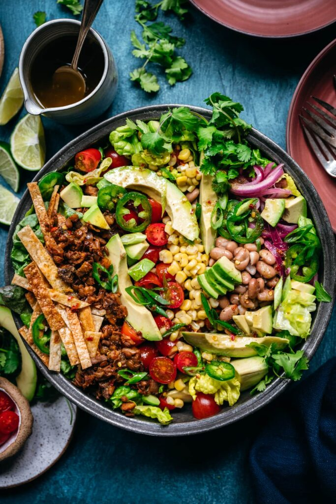 This recipe for taco salad is one of the vegan salad recipes in this post.
