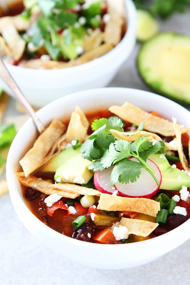 Recipe for vegan Black Bean Tortilla Soup