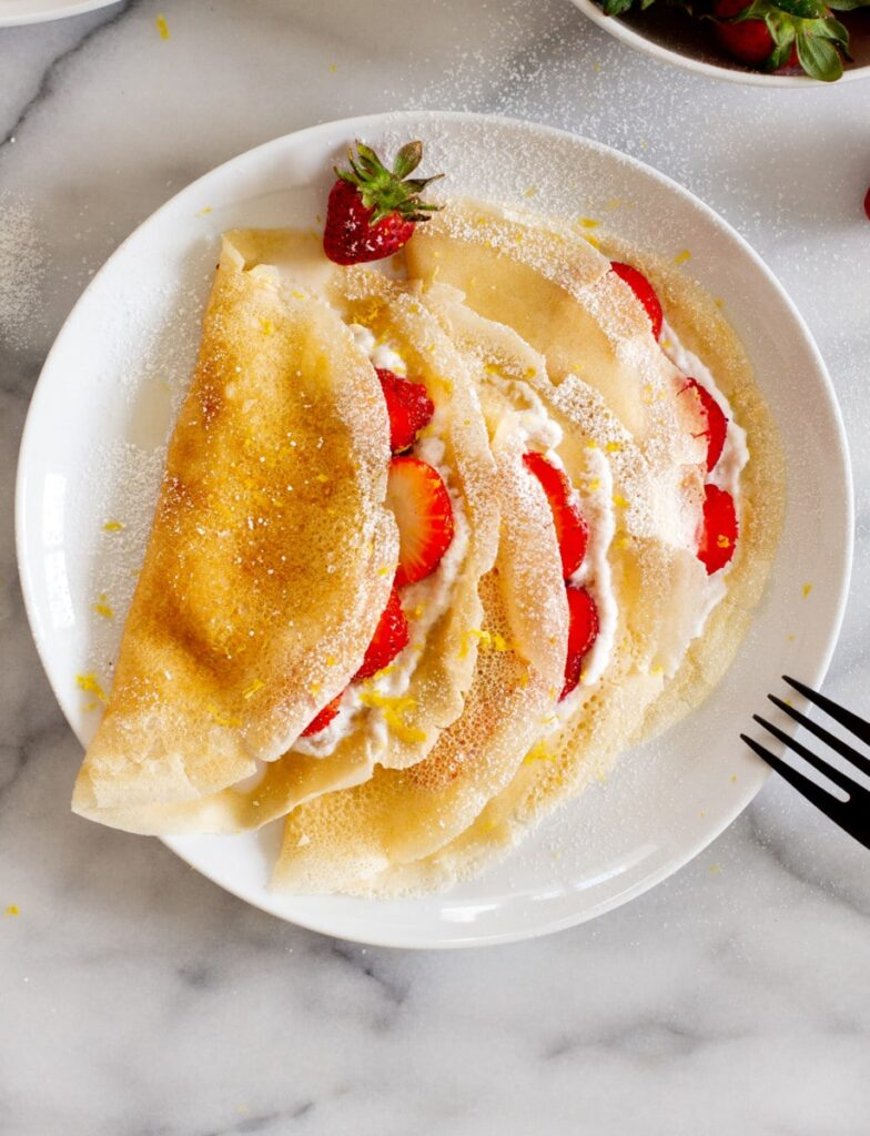 Recipe for vegan Strawberries and Cream Crepes