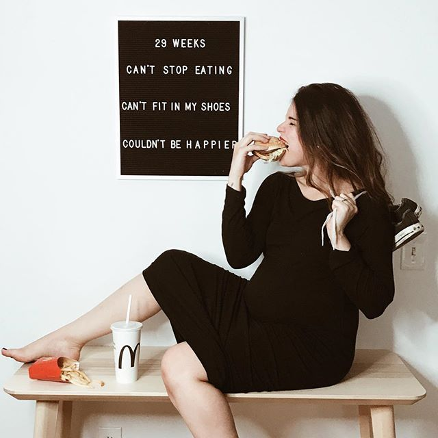 "Letter board that says ""29 weeks can't stop eating can't fit in my shoes couldn't be happier"""