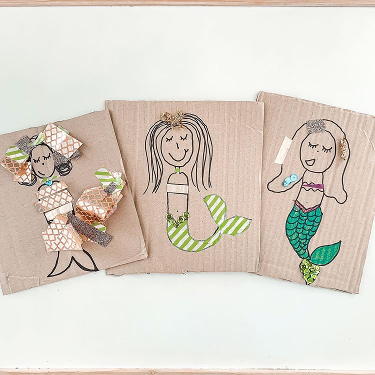 Craft where you draw and decorate mermaids on cardboard