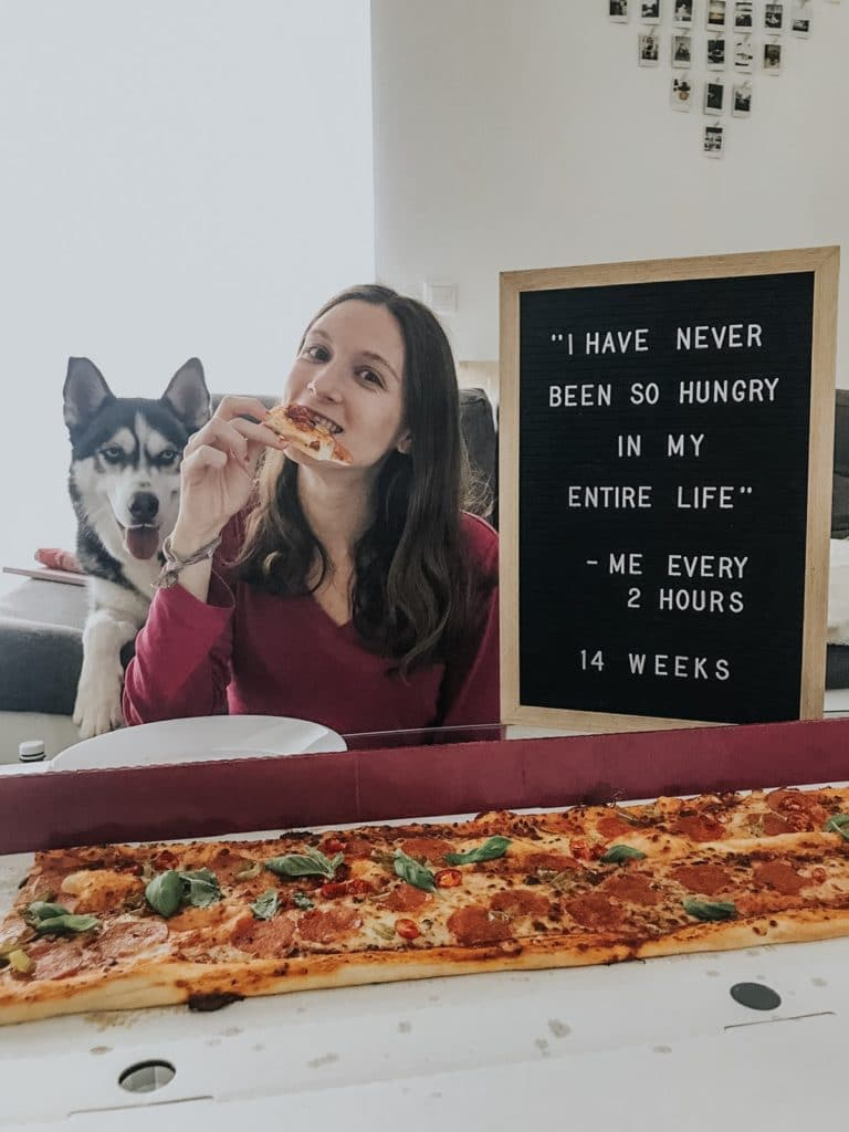 "Letter board that says ""i have never been so hungry in my entire life me every 2 hours 14 weeks"""
