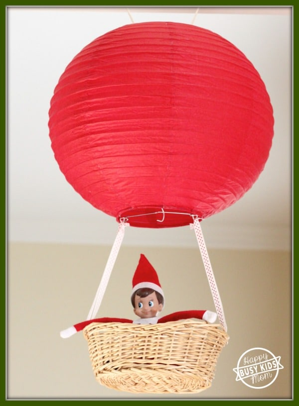 Putting your Elf on the shelf in a hot air balloon is one of the elf on the shelf ideas in this post.