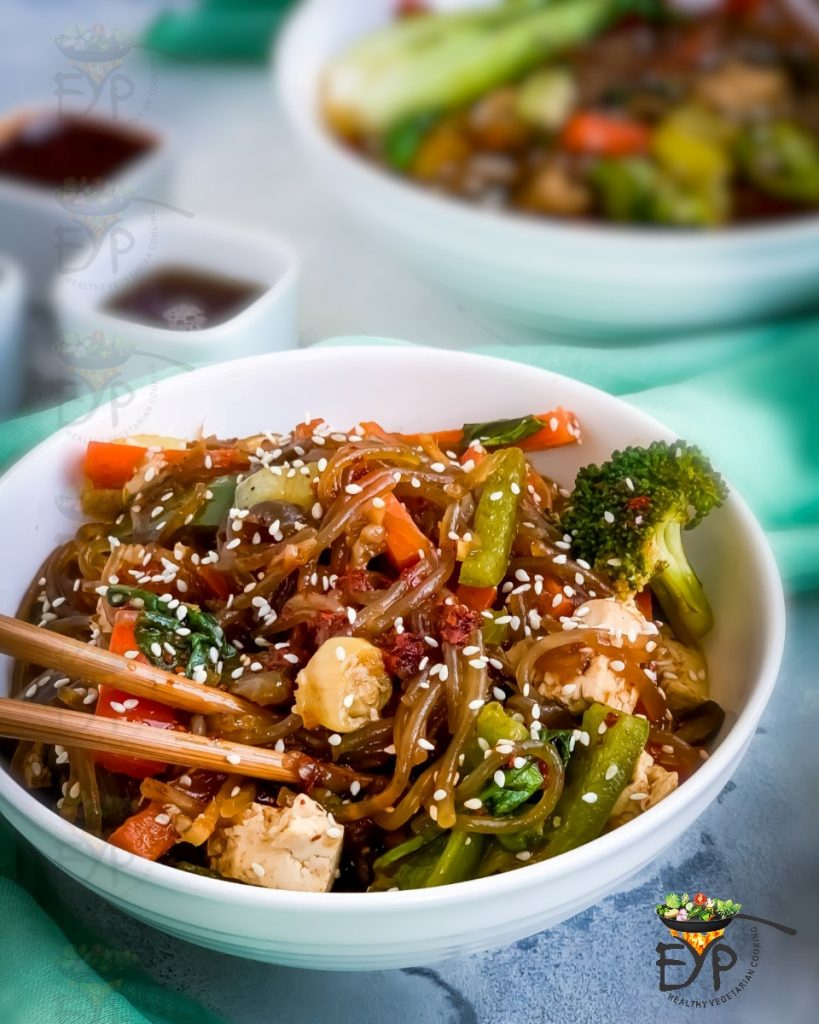 This recipe for Japchae is one of the vegan Korean recipes in this post.