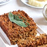 vegan lentil loaf with brown gravy