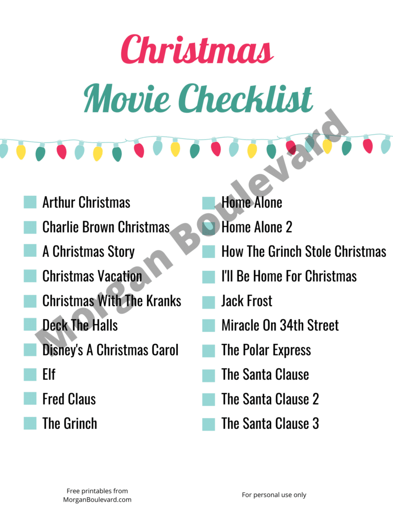 free christmas movie checklist printable
