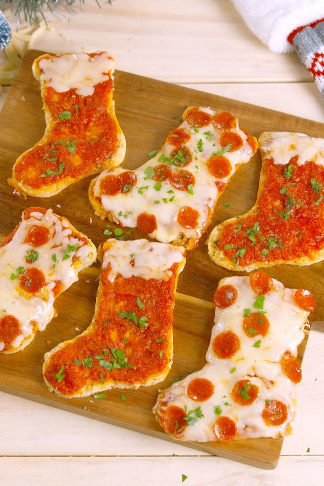 Pizzas in the shape of Christmas stockings
