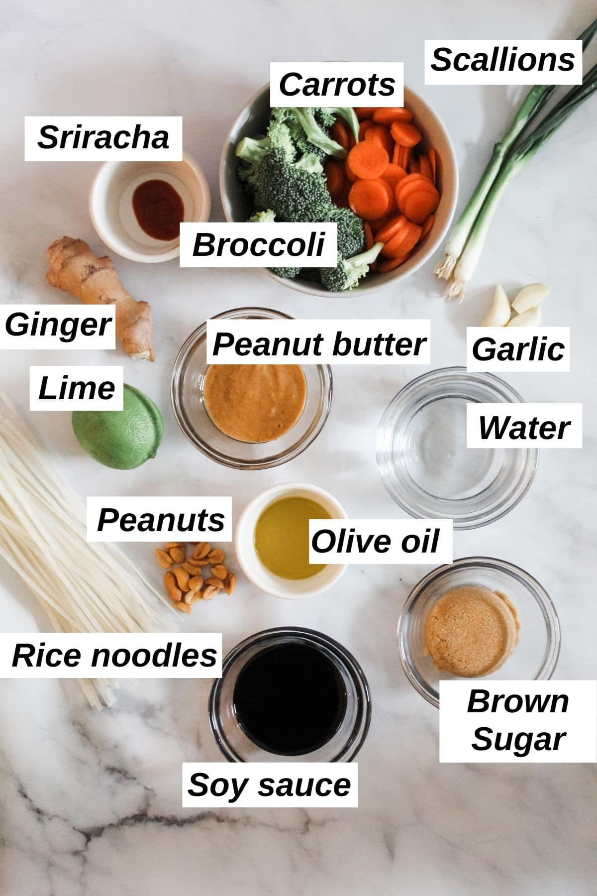 vegan pad thai ingredients labeled in dishes on marble surface
