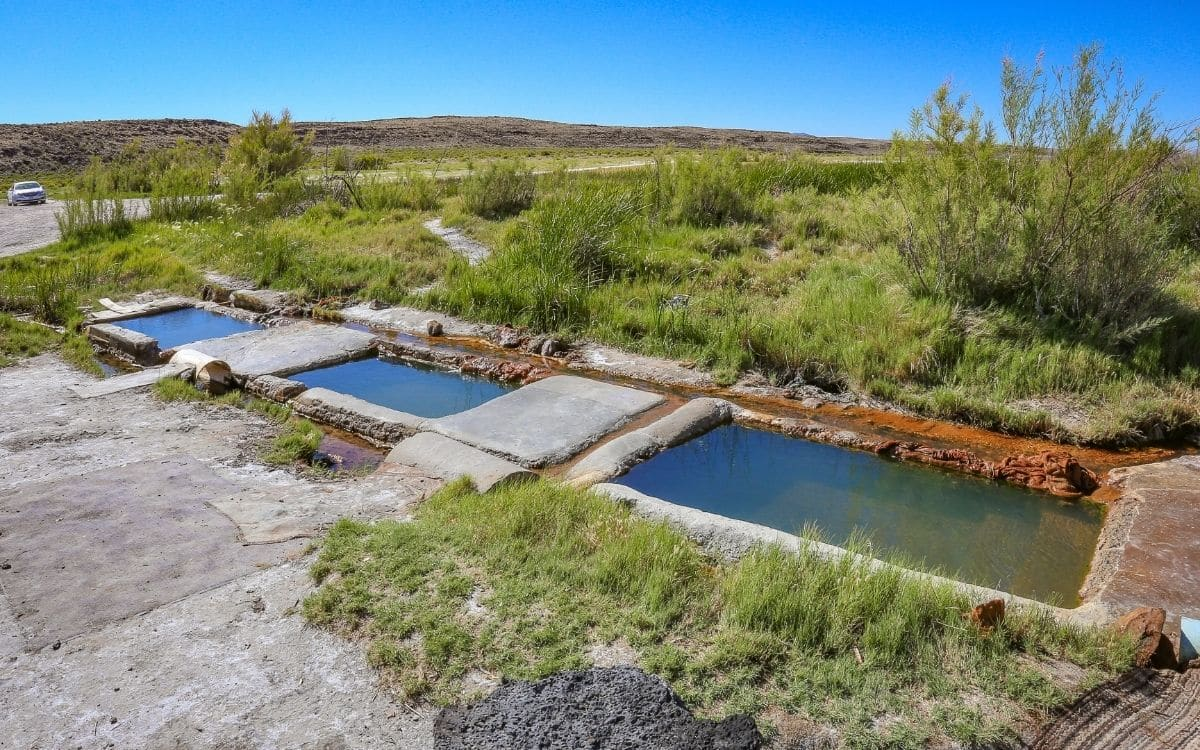 the three concrete pools that make up baker hot springs in delta utah