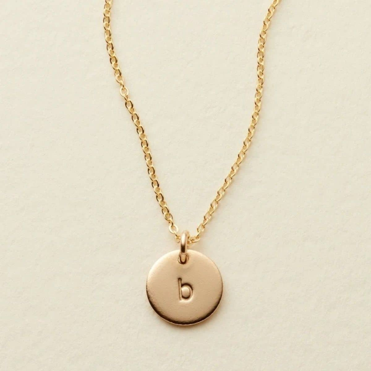 gold personalized initial necklace with the letter b
