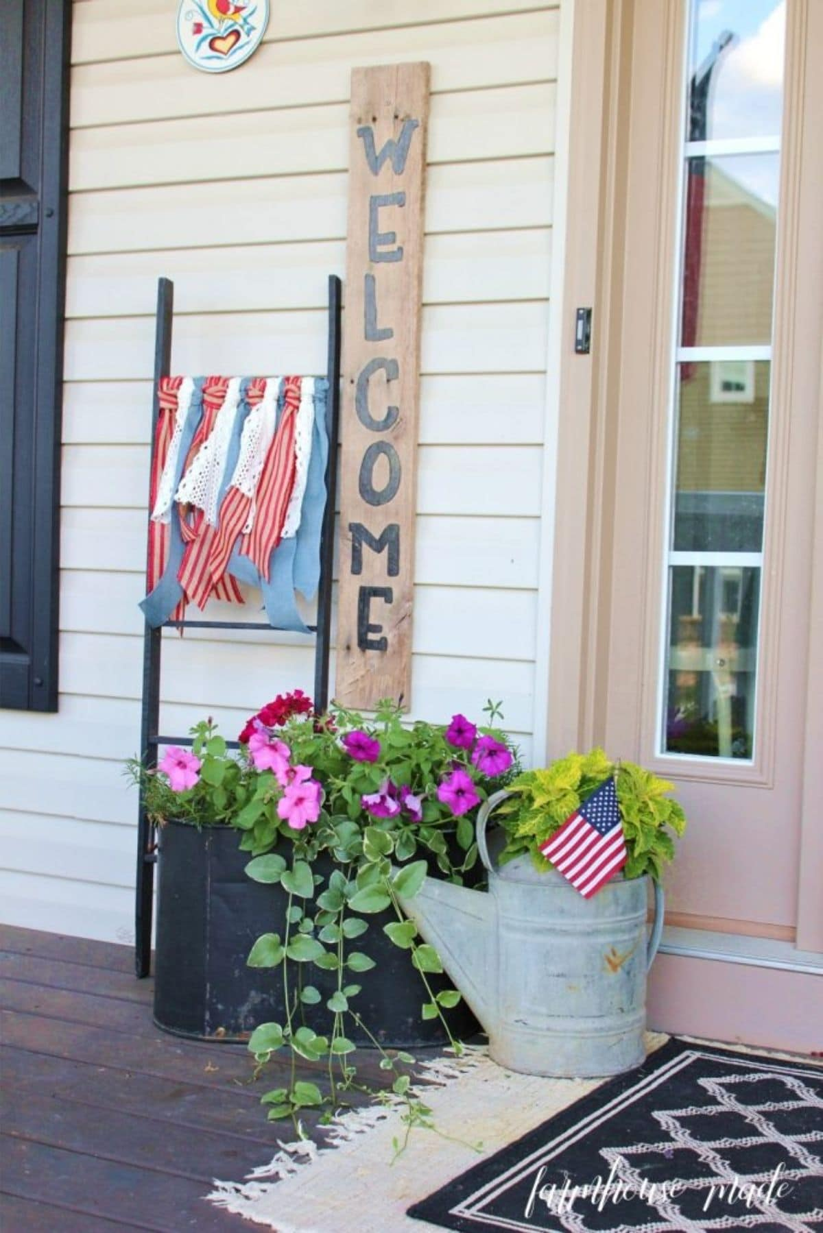 porch with 4th of july ribbons